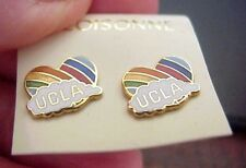 UCLA BRUINS RAINBOW HEART PAIR OF CLOISONNE STUD EARRINGS ON CARD NOS TAIWAN