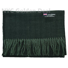 Women 100% CASHMERE Warm Thick Strip Scarf Dark Green Soft Wool MADE IN SCOTLAND