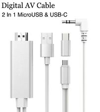 2 In 1 USB-C Micro-USB to HDMI Digital Av Cable 1080P Video Audio Cable Adapter