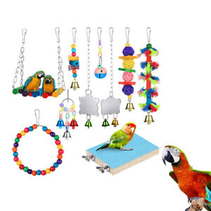 10pcs Parrot Hanging Swing Bird Cage Toys Parakeet Cockatiel Budgie Harness Toys