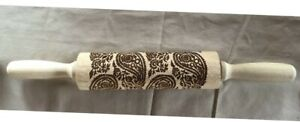 """Rolling Pin*Baking*Cookie Dough Mold*Embossed*Paisley*14""""long"""