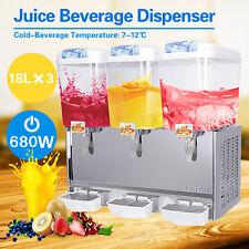 680W Commercial 3 Tank Juice Beverage Dispenser Cold Drink Jet Spray Refrigerate