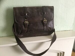 Marks and Spencer dark brown leather briefcase work school laptop bag