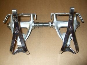 Vintage late 80s Chorus First Gen. pedals set with Small Campagnolo toe Clips