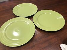 Rachel Ray Set Of 3 Green Apple Lime Double Ridge Dinner Plates