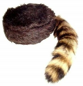 Davy Crockett / Daniel Boon Coon Skin Hat With Real Coon Tail Multi Sizes