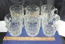 Vintage Set 6 Winston Cigarette Dimple Thumbprint Clear Glass Beer Mugs Unused !