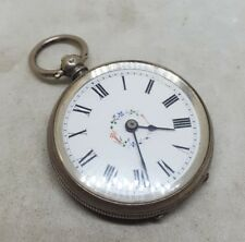 Antique solid silver ladies pocket watch c1900 working