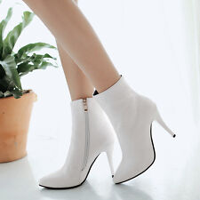 Womens Zip Embossed Pointed Toe High Heel Ankle Boots Shoes UK 1--12 A893