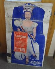 """Vintage Curtis Candy Queen Miss Baby Ruth Mary Jeanne Drake 26""""x44"""" Sign"""