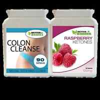 90 RASPBERRY KETONE 90 DETOX COLON INNER CLEANSE WEIGHT LOSS DIET TABLETS PILLS