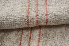Antique European grain sack fabric Peach faded Used Nubby 3.8 Cutter patched