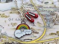 WIZARD OF OZ SOMEWHERE OVER THE RAINBOW RED SHOES CHARM PENDANT NECKLACE