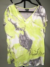 Massino White Gray Green Top Blouse Women's L 14-16
