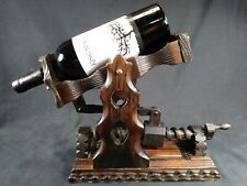 Vintage Gothic Wine Bottle Holder Wood Stand  Mechanical Screw Medieval Catapult