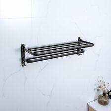 Foldable Double Space Aluminum Towel Rack Wall Mounted Bathroom Shelf Storage