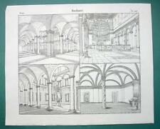 ARCHITECTURE Italy Rome St. Clemente Cancellaria S. Martino - 1825 Antique Print