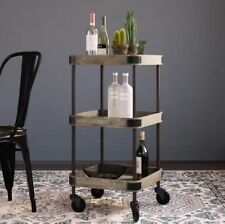 Vintage Industrial Trolley Side Rustic Table Storage Drinks Cart Wood Furniture
