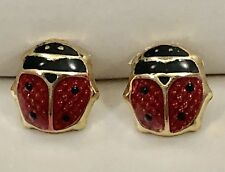 Red & Black Enamel Lucky Lady Bug 14kt Gold Screw Back Stud Earrings, New