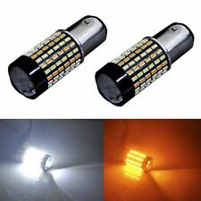 2pcs 120-SMD 1157 Dual Color White Amber LED Switchback Turn Signal Light Bulbs