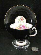 BLACK FLORA  BONE CHINA ENGLAND  CABINET  TEA CUP AND SAUCER