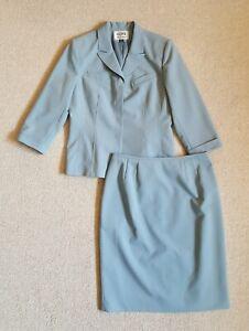 Womens Skirt Suit-KASPER-A.S.L.-light blue stretch lined 3/4 cuffed sleeves-10P