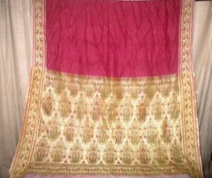 Pure silk Antique Vintage Sari HUCE LOT 4y T17 352 Maroon Cream DECOR #ABD4K