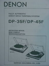 DENON DP-35F and DP-45F TURNTABLE INSTRUCTION MANUAL 27 Pages