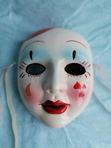 Maschera decorativa terracotta rivestita dipinta a mano made in Italy Pagliaccio