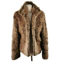 Per Una M&S Size M 12 14 Brown Warm Fluffy Faux Fur Winter Jacket Short Womens