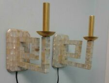 Wall Sconces Greek Key W/ Mother of Pearl Newly Wired