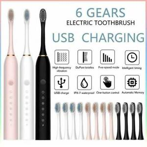Electric Toothbrush Sonic Rechargeable 5 Modes Kids Adults Brush 4 Heads USB