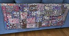 Tapestry Vintage Patchwork India 29 x 58 Hand Embroidered Mirrors Jewels Beads