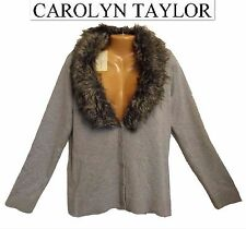 NWT Sz L Carolyn Taylor Grey Removible Fur Button Front Women's Cardigan Sweater