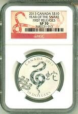 2013 S$10 Canada Lunar Year Of The Snake First Release NGC SP70