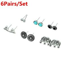 6pairs/set Jewelry Resin Alloy Turquoise Ear Studs Elephant Earrings Set