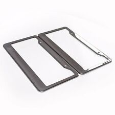 1 Pair Car Wide Side Silver Stainless Steel Metal License Plate Frames Tag Cover