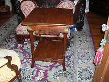 antique quartersawn oak parlor table pierced carved brass corners rare model