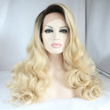 Lace Front Wig Long Curly Wavy Full Wig Black Ombre Blonde Synthetic Hair