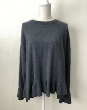 Catherine Malandrino Heather Gray Ruffle Hem 100% Cashmere Sweater Size XL $228