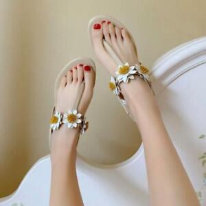 Women's Fashion Leather Floral Block Heel Strappy Thong Beach Sandals Shoes SUNS
