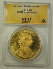 1915 Austria Four Ducats Gold Coin Restrike ANACS MS-67 Cameo Beautiful Gem (H)