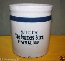 OLD THE FARMERS STORE STONEWARE ADVERTISING BEATER JAR POSTVILLE, IOWA