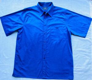 HENRI LLOYD Men's Summer Shirt L Large Cobalt Blue Short Sleeve Cotton Pocket
