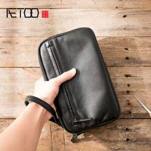 Mens Handbag Purse Clutch Bag Retro Soft Leather Business Fashion Casual Vintage