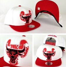 Mitchell & Ness White Red Chicago Bulls Spray paint Adjustable snapback Hat Cap