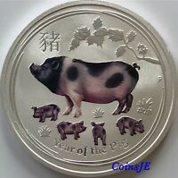 2019 Australian Lunar Year of the Pig 1oz .999 Silver Colorised  Bullion Coin