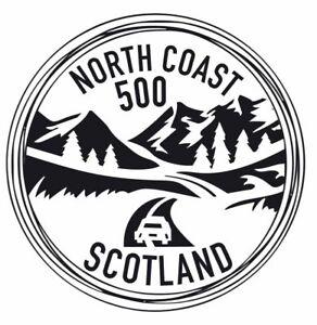 2x Nort Coast 500 Scotland NC500 Vinyl Sticker Car Camper Decal Black and White