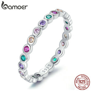 BAMOER S925 Sterling Silver Colorful Pavé CZ Finger Lucky Ring For Women Jewelry
