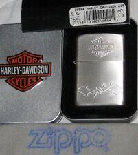 ZIPPO HARLEY DAVIDSON Lighter H-D WIRE BAR & SHIELD Emblem UNUSED Silver  Satin